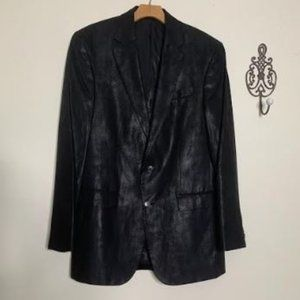 NEW Kenneth Cole Black Faux Leather Sport Coat